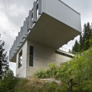 It's certainly an impressive cantilever architecture, building, facade, home, house, sky, gray, brown