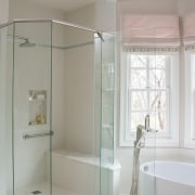 A wider view of the shower with seat bathroom, interior design, plumbing fixture, room, gray