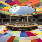 This new headquarters for the European Union Council ceiling, function hall, interior design, leisure centre, play