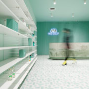 Sergio Mannino Studio designed this pharmacy to be architecture, ceiling, daylighting, floor, flooring, house, interior design, leisure centre, room, tile, wall, gray, white