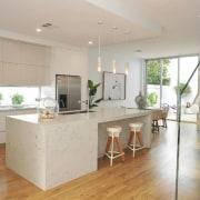 Smartstone countertop, floor, flooring, hardwood, interior design, kitchen, laminate flooring, living room, property, real estate, wood flooring, gray