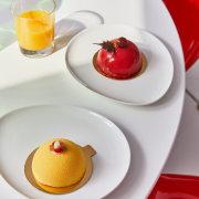 Breakfast is served dessert, food, tableware, white
