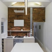 Recessed lights draw the eye upward architecture, cabinetry, ceiling, countertop, daylighting, floor, interior design, kitchen, room, gray, white