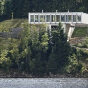 The home floats above the trees house, lake, plant, real estate, reservoir, river, tree, water, waterway, black, gray
