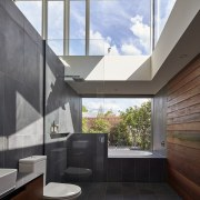This bathroom may not be suitable for those architecture, bathroom, ceiling, countertop, daylighting, floor, home, house, interior design, real estate, gray, black