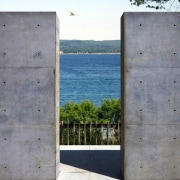 Views out to the bay architecture, concrete, facade, sky, wall, window, gray