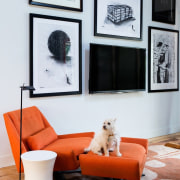 More artwork surrounds the TV chair, couch, furniture, home, interior design, living room, room, shelf, table, wall, window, white