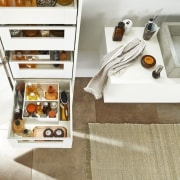 Slim, minimalist design and diverse setting options – floor, flooring, furniture, white