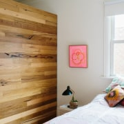 Timber in the bedroom contrasts with the white bed, bed frame, bedroom, ceiling, floor, flooring, hardwood, home, house, interior design, room, wall, wood, wood flooring, wood stain, white, brown
