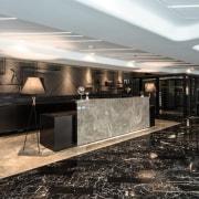 Hotel Ease ceiling, floor, flooring, interior design, lobby, black