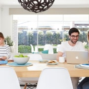 Whether it's summer or winter, a Daikin heat furniture, home, interior design, room, table, white