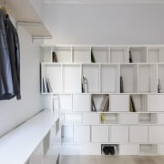 This storage area is an especially useful addition furniture, interior design, product design, room, shelf, shelving, gray