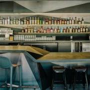 Douglas fir runs along the bar area architecture, furniture, interior design, table, black, gray