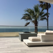 Previti Roof Deck - Shanna Kerr - client architecture, arecales, furniture, home, house, outdoor furniture, palm tree, property, sky, sunlounger, table, vacation, gray