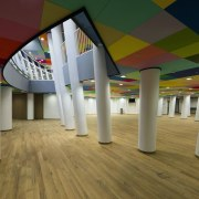 This new headquarters for the European Union Council architecture, ceiling, daylighting, floor, flooring, interior design, leisure centre, structure, brown