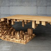 The wave city coffee table furniture, product design, table, wood, gray