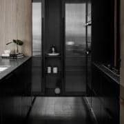 A view of the kitchen storage architecture, bathroom, black, black and white, floor, glass, interior design, monochrome, monochrome photography, room, sink, black