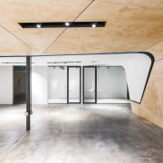 Curved plywood blends the ceiling and walls architecture, ceiling, daylighting, floor, flooring, glass, house, interior design, loft, product design, wood flooring, white, orange