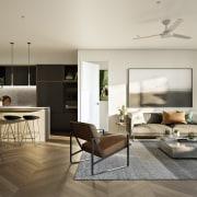 Treehouse at Parkside Walk – MJA Studio floor, flooring, interior design, living room, room, gray