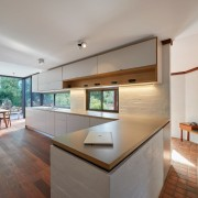 The architect opted for two types of flooring architecture, daylighting, estate, floor, flooring, hardwood, house, interior design, living room, property, real estate, wood flooring, gray