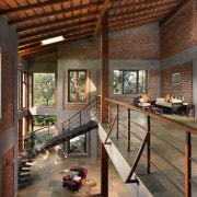 Architect: Studio PKA http://www.purankumar.com/Photographer: Amit Pasricha architecture, house, interior design, living room, real estate, window, wood, brown