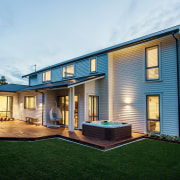 See the home here cottage, elevation, facade, home, house, property, real estate, residential area, siding, white