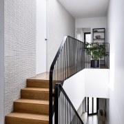 Black balustrades draw the eye architecture, baluster, handrail, home, house, interior design, stairs, white