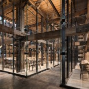 Glazed tasting pavilions within Barrel House 1-14 tourist attraction, black