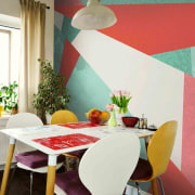Geometric wallpaper chair, dining room, furniture, home, house, interior design, real estate, room, table, wall, window, red