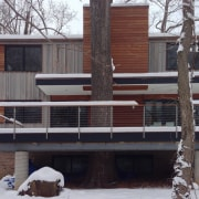 The home in winter architecture, building, facade, home, house, neighbourhood, property, residential area, siding, snow, window, winter, gray, black