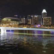 Jubilee Bridge – Cox Architecture city, cityscape, condominium, downtown, metropolis, metropolitan area, night, reflection, skyline, skyscraper, water, water feature, black