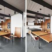 This clever folding table extends off the island architecture, ceiling, floor, furniture, house, interior design, loft, product design, table, gray, white