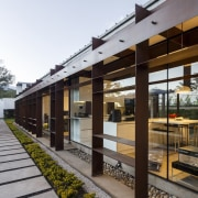 Steel runs inside and out, almost like an architecture, facade, house, white