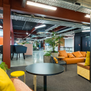 Technology floods The B:HIVE, providing connectivity, video conferencing architecture, ceiling, interior design, office, gray