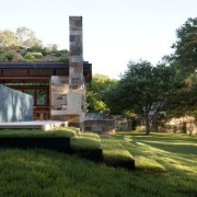 Grass steps lead down from the pool house architecture, estate, grass, home, house, landscape, property, real estate, tree, brown