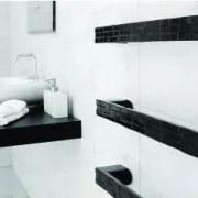 As well as arresting designs, towel rails can angle, bathroom, bathroom accessory, bathroom sink, black, floor, interior design, plumbing fixture, property, room, sink, tap, tile, wall, white