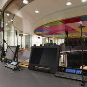 This new headquarters for the European Union Council gym, interior design, room, structure, technology, gray, black