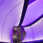 Zaha Hadid – Mathematics: The Winton Gallery – architecture, blue, ceiling, light, lighting, line, product design, purple, sky, structure, violet, purple