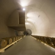Building underground meant there was extensive space architecture, ceiling, infrastructure, tunnel, brown