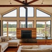 Breaking the windows up into smaller panes helps ceiling, daylighting, door, estate, home, interior design, living room, real estate, window, wood, brown, gray