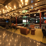 The ground floor of The B:HIVE is used interior design, lobby, restaurant, brown