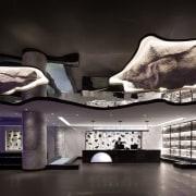 Lights ring the rock structures architecture, automotive design, design, interior design, product design, black