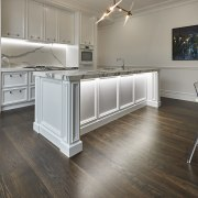 Concealed underbench lighting shows off the classic detailing countertop, floor, flooring, hardwood, kitchen, laminate flooring, room, tile, wood, wood flooring, gray