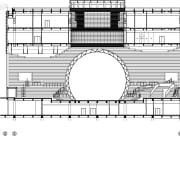 A cross-section of the Tianjin Binhai Library shows architecture, area, black and white, design, diagram, drawing, floor plan, font, line, music, plan, product, structure, text, white