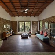 Architect: Studio PKA http://www.purankumar.com/Photographer: Amit Pasricha ceiling, daylighting, estate, floor, flooring, hardwood, house, interior design, living room, property, real estate, room, window, wood, wood flooring, brown, gray
