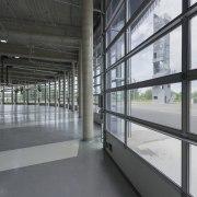 569 firestation architecture, building, daylighting, floor, glass, structure, window, gray, black