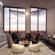 This restaurant has views out over the city ceiling, interior design, lobby, real estate, gray
