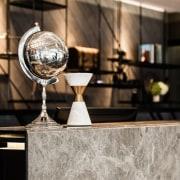 Hotel Ease furniture, glass, interior design, table, black, gray