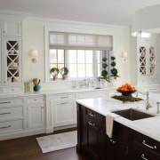 A sink on the island makes clean up cabinetry, countertop, cuisine classique, floor, home, interior design, kitchen, room, window, gray