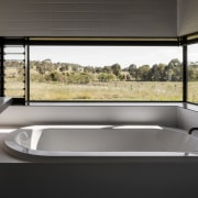 Views out to the countryside architecture, bathtub, glass, interior design, jacuzzi, window, gray, black